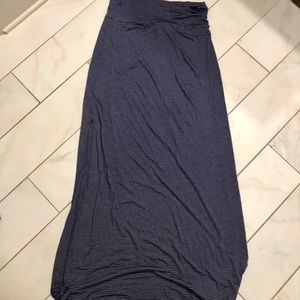 Navy and grey striped maxi skirt